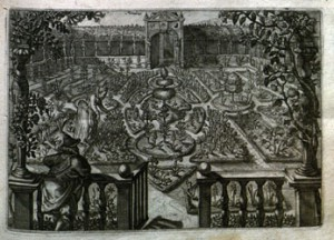 A seventeenth-century flower garden, from Crispijn van de Passe's Hortus Floridus (Arnhem, 1616)