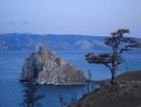 Shaman Rock, in Lake Baikal, is considered sacred by the Buryat people.