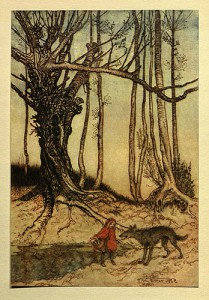 The Big Bad Wolf and Red Riding Hood from Arthur Rackham's illustration in Hansel and Grethel (London, 1920).