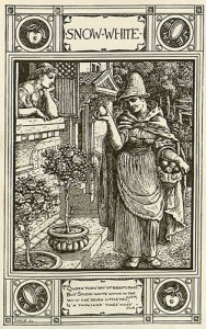 The evil queen, disguised as an old woman, offers Snow white an apple in Walter Crane's illustration from Household stories from the collection of the brothers Grimm (New York, 1896).