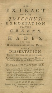 "Title page from ""Josephus's Discourse to the Greeks concerning Hades,"""