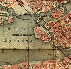 Detail of the map of Stockholm from Baedeker's Norway and Sweden (Leipzig, 1879)