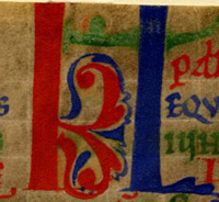 "Initials ""KL"" for ""Kalends,"" decorated with arabesques"