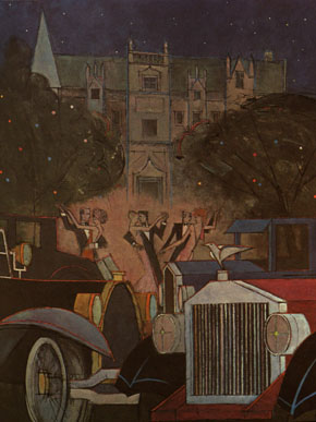 An illustration by Fred Meyer of Gatsby's mansion during one of his famous parties.