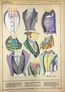 Neckwear of the Bourbon Restoration, from Histoire du costume masculin francais (Paris, 1927).