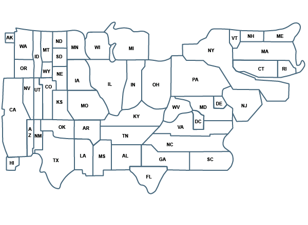 squished map of U.S. states and regions
