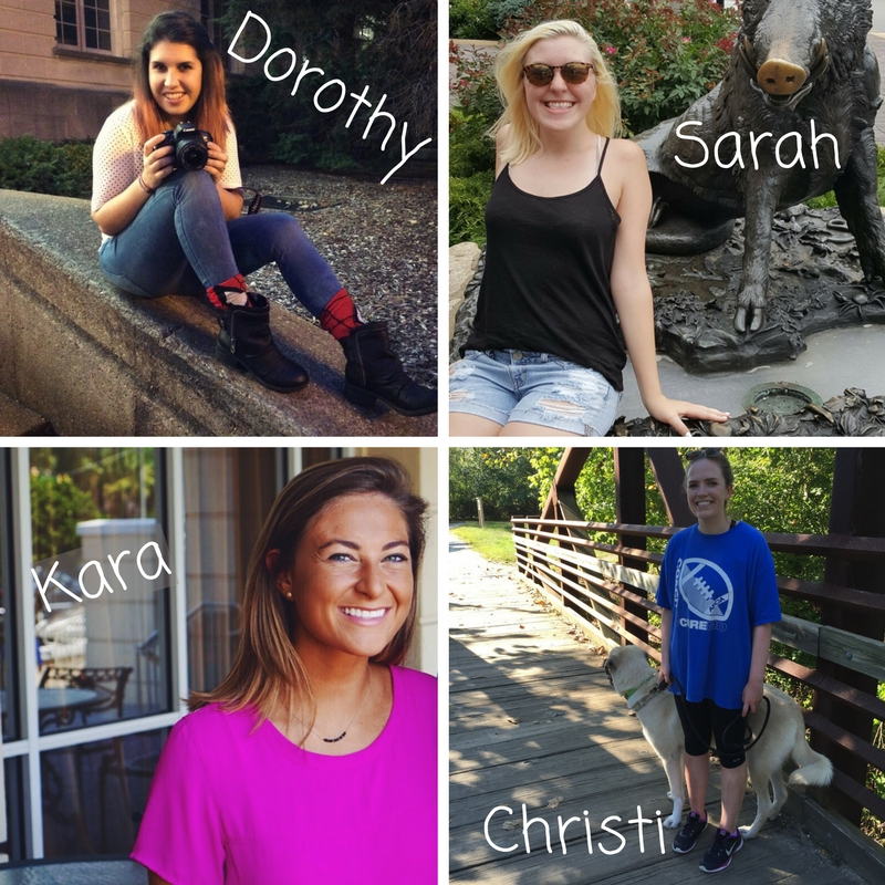 all 4 social media interns profile pictures arranged in a grid with their names: Dorothy, Sarah, Kara, Christi