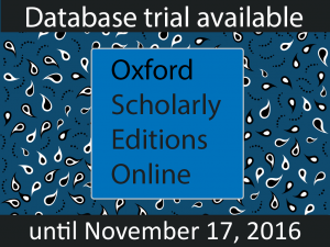 Trial Available for Oxford Scholarly Editions Online