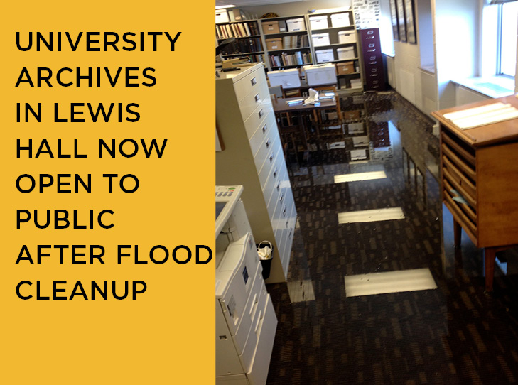 University Archives Affected by Flooding in Lewis Hall