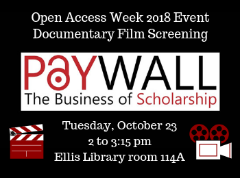 Open Access Week 2018: Documentary Film Screening in Ellis Library