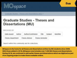 MOspace is the home of all theses and dissertations by MU students since 2006.