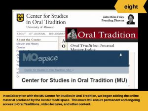 Digital Services ensures permanent access to Center for Studies in Oral Tradition materials.