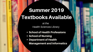 Summer 2019 Textbooks at the Health Sciences Library