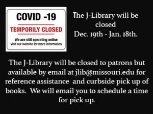 J-Library Closed December 19th – January 18th