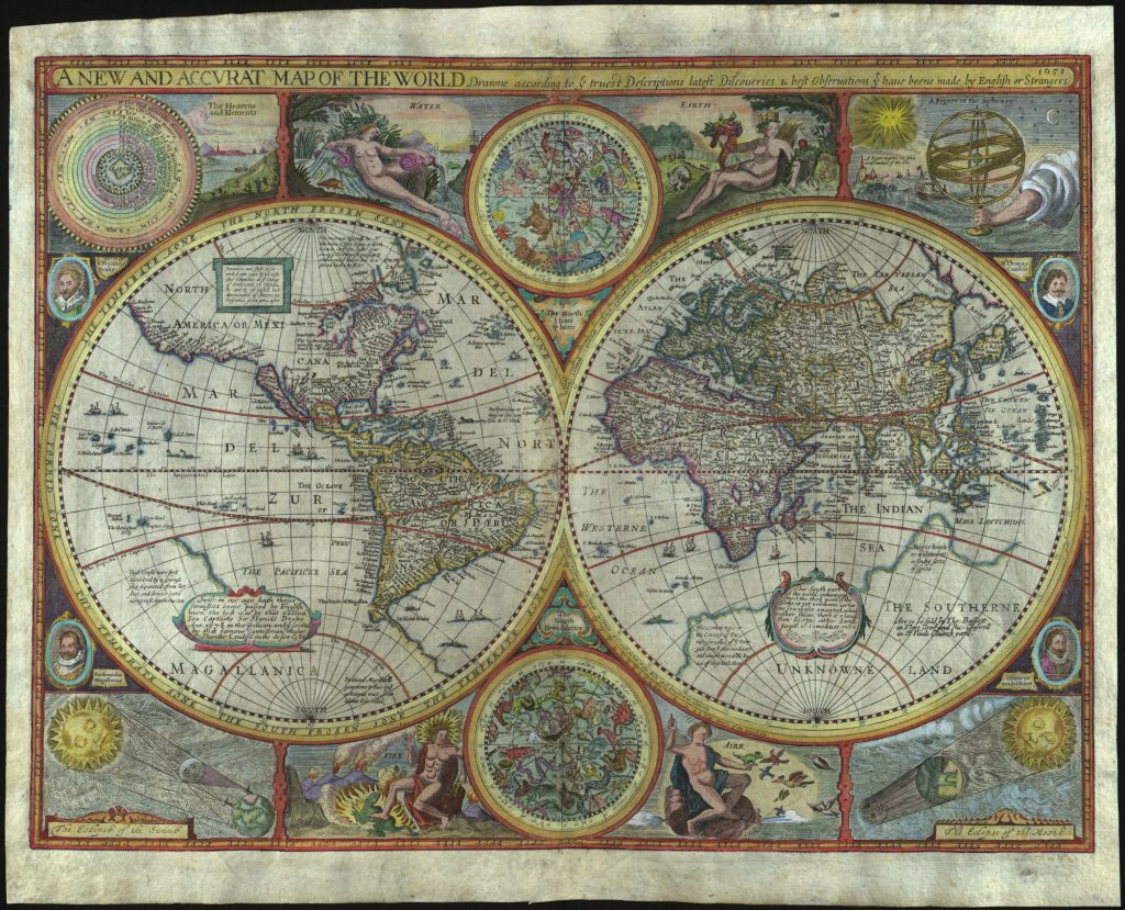 John Speed's world map, A New and Accurat Map of the World Drawne according to ye truest Descriptions lastest Discoveries & best observations yt have beene made by English or Strangers, 1651.