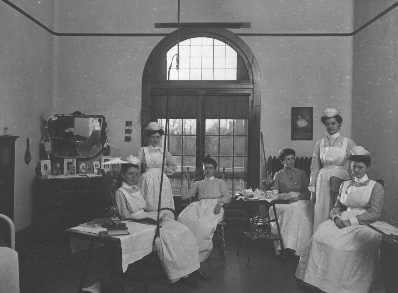 Nurses' room at Parker Memorial Hospital.