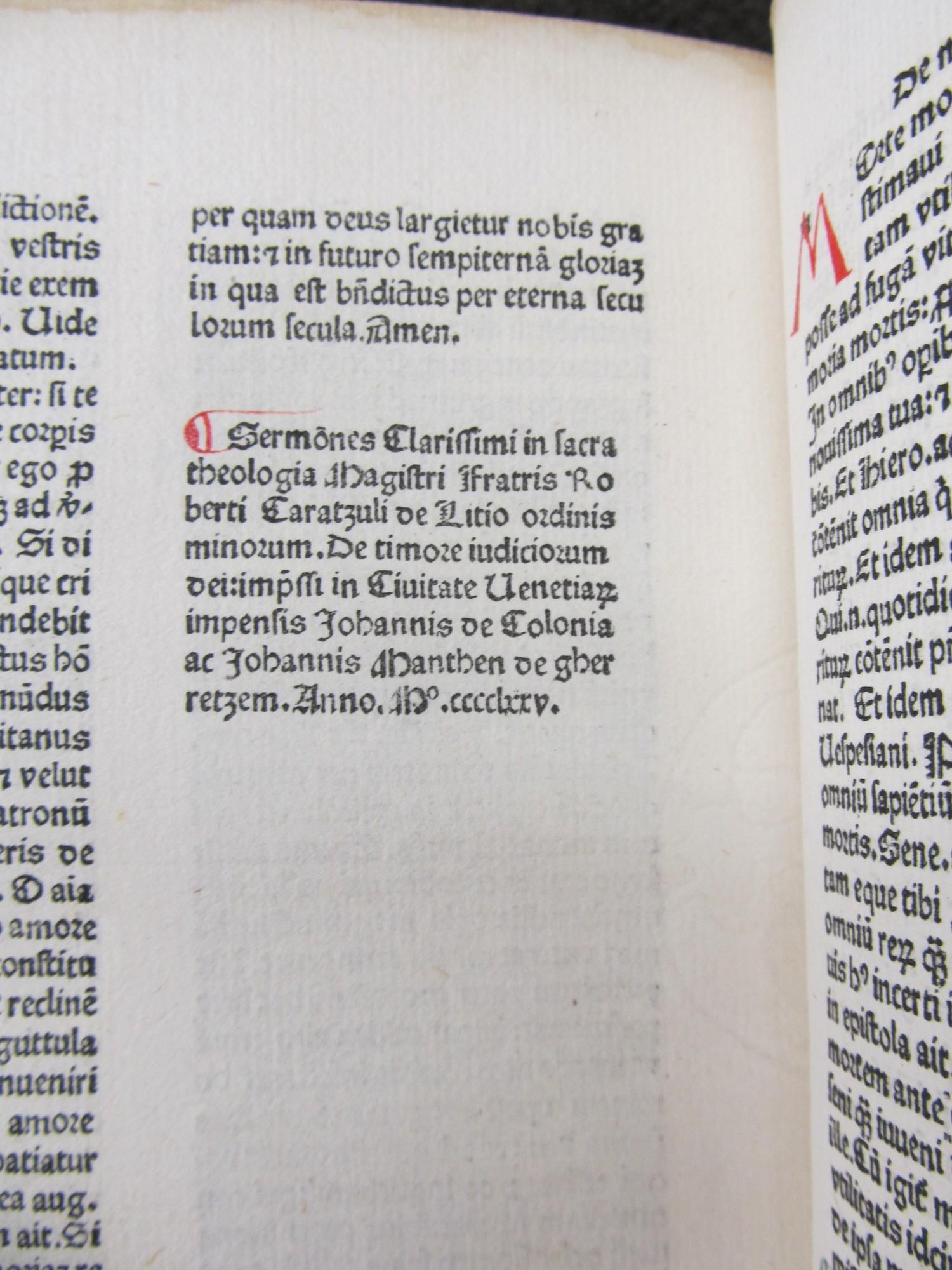 Sermones clarissimi in sacra theologia magistri Fratris Roberti Caratzuli de Litio ordinis minorum De timore iudiciorum Dei.