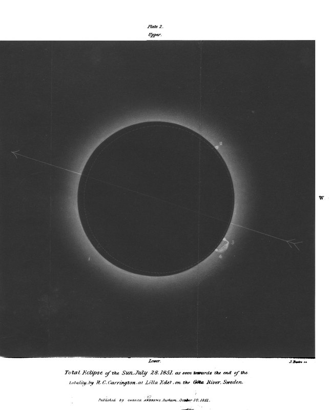 An account of the late total eclipse of the sun, on July 28, 1851 : as observed at Lilla Edet in Sweden / by R.C. Carrington, Esq.