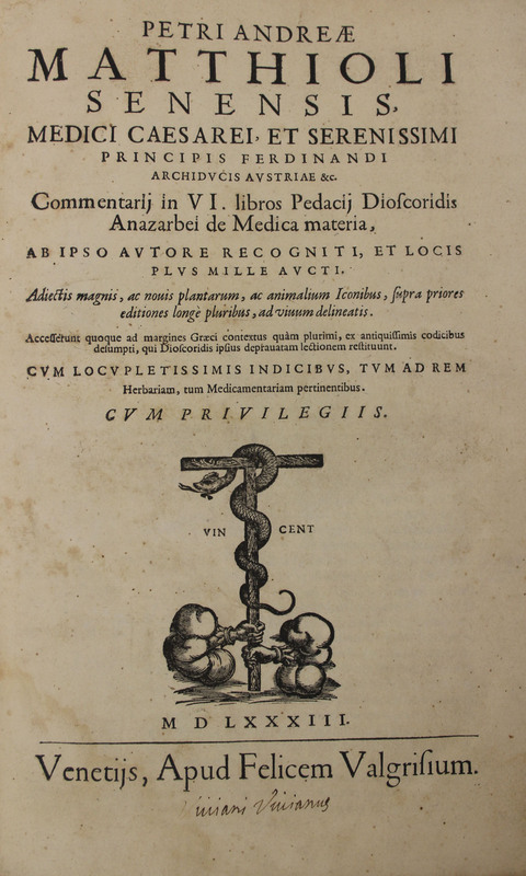 Petri Andreæ Matthioli senensis medici ... Commentarij in VI. libros Pedacij Dioscordis Anazarbei de Medica materia
