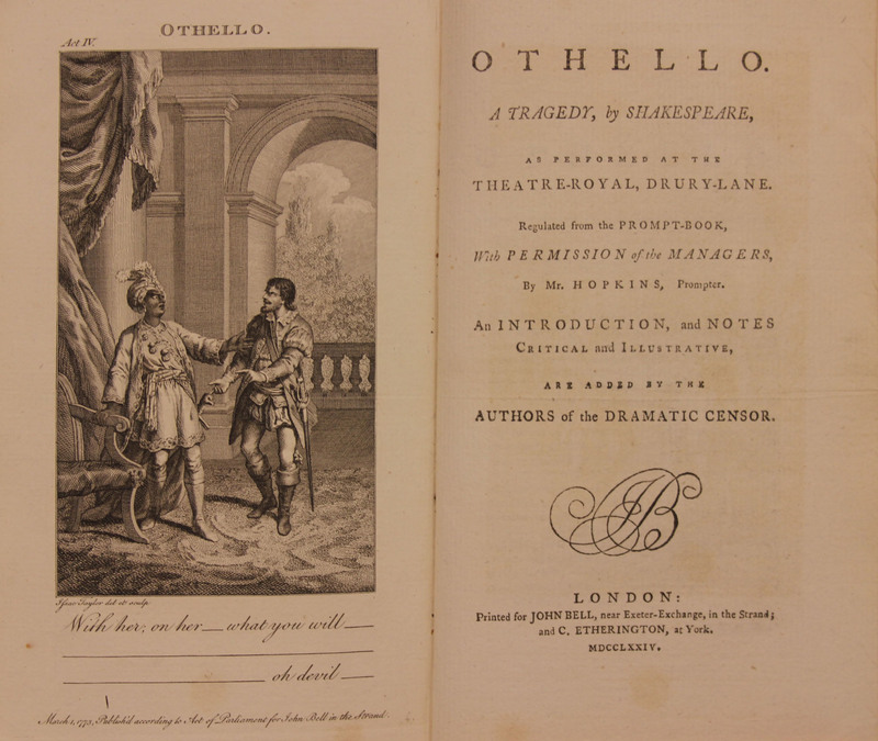 Bell's edition of Shakespeare's plays