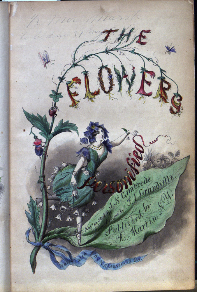The flowers personified : being a translation of Grandville's Les fleurs animées / [translated] by N. Cleaveland; illustrated with steel engravings, beautifully colored.