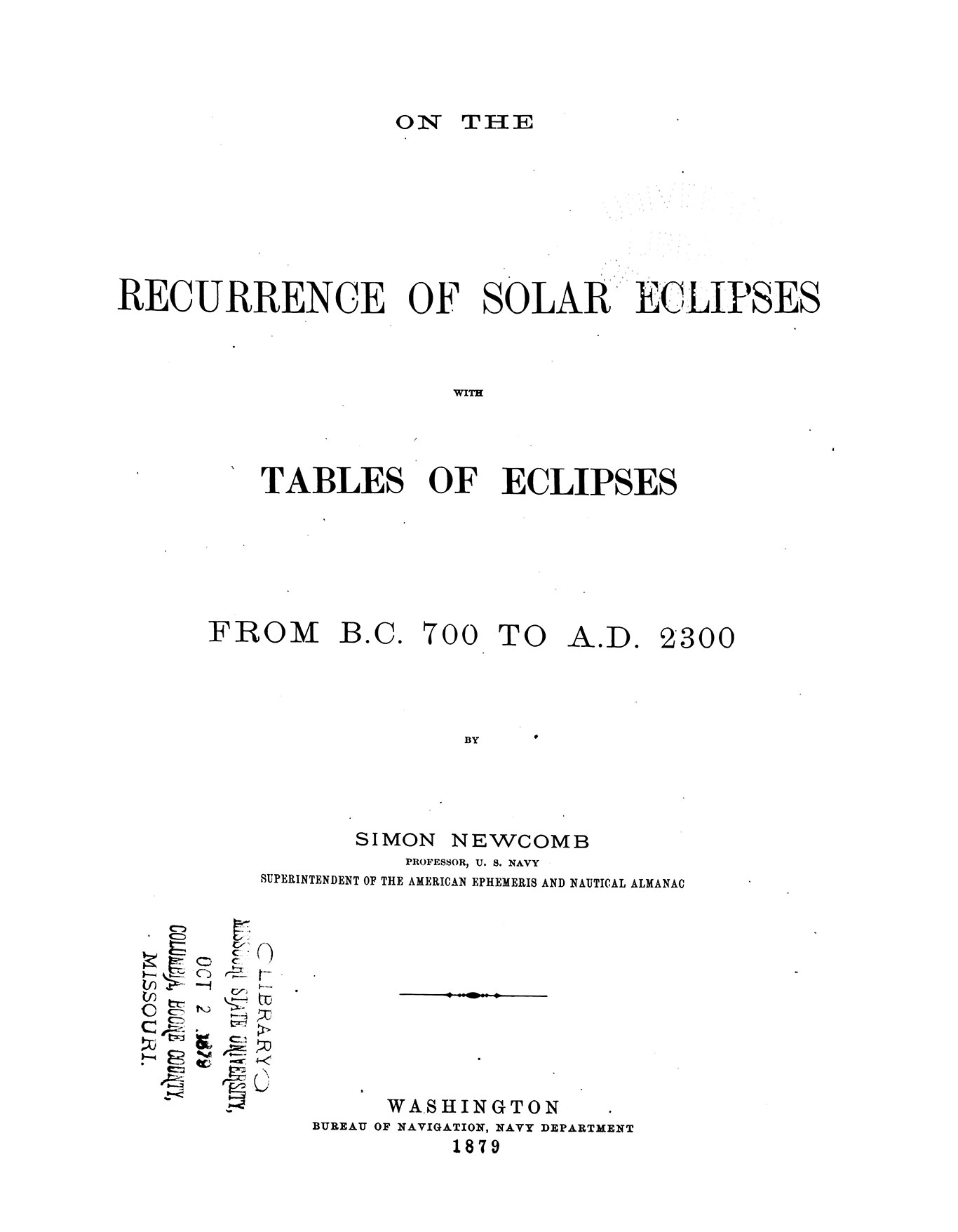 On the recurrence of solar eclipses with tables of eclipses from B.C. 700 to A.D. 2300