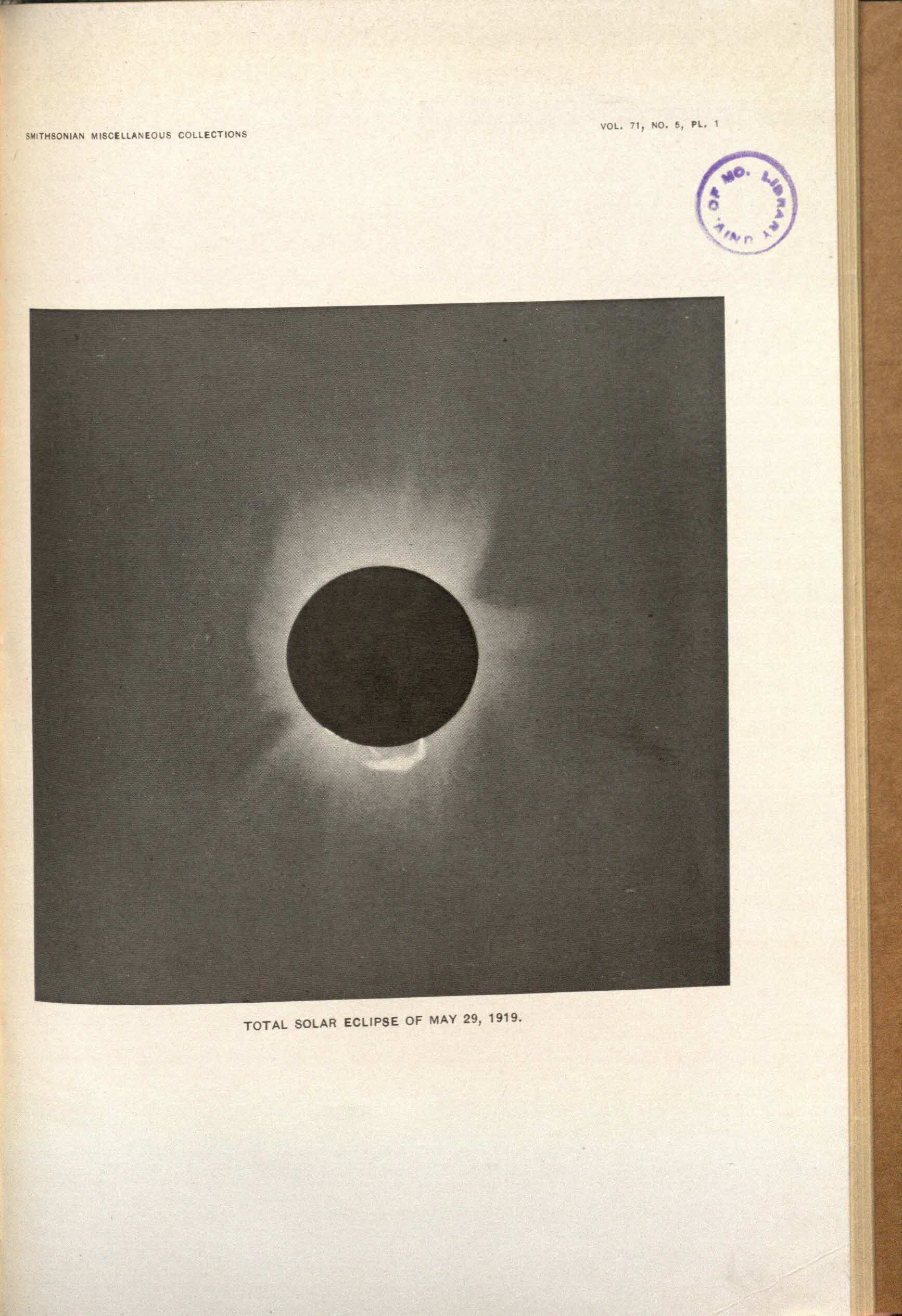 Observations of the total solar eclipse of May 29, 1919 : (with one plate) / by C. G. Abbot and A. F. Moore.