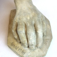 Plaster cast of Walt Whitman's hand.