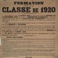 Formation de la classe de 1920