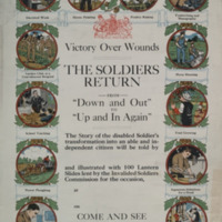 """Victory over wounds [graphic] : the soldier's return from """"down and out"""" to """"up and in again."""""""