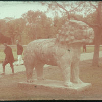 Hiller 09-060 : Standing lion statue on Elephant Road in Ming Xiaoling Mausoleum