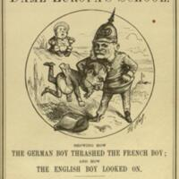 The fight at Dame Europa's school : showing how the German boy thrashed the French boy; and how the English boy looked on / with 33 illustrations by Thomas Nast.