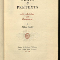 Texts & pretexts : an anthology with commentaries / by Aldous Huxley.