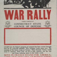 War rally under auspices of Connecticut State Council of Defense ... [graphic] : boys in France stand for America; come out and line up behind them!.