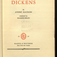 Dickens / by André Maurois: translated by Hamish Miles