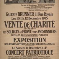 """Vente de charité aux profit des soldats au front et des prisonniers pupilles de l'assistance publique / Société de bienfaisance """"Pour nos frères."""""""