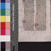 [Manuscript leaf with parts of the service for St. Clare of Assisi.]