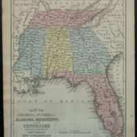Map of Georgia, Florida, Alabama, Mississippi, and Tennessee engraved to illustrate Mitchell's New Intermediate Geography.