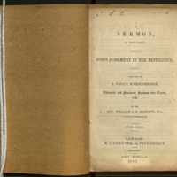 A sermon in two parts : God's judgment in the pestilence : preached at S. Paul's, Knightsbridge, thirteenth and fourteenth Sundays after Trinity, 1849 / by William J.E. Bennett.