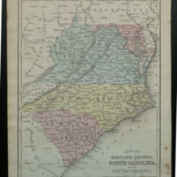 Map of Maryland, Virginia, North Carolina, and South Carolina.<br />