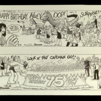 Original artwork for Alley Oop 75th anniversary comic strips.