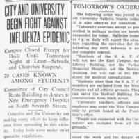 City and University Begin Fight Against Influenza Epidemic.