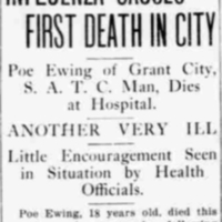 Influenza Causes First Death in City.