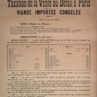 Ordonnance portant taxation de la vente au détail à Paris de la viande importée congelée